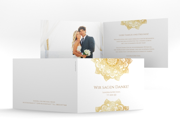 "Danksagungskarte Hochzeit ""Delight"" A6 Klappkarte Quer gold"