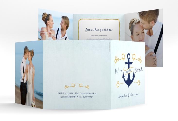 """Dankeskarte Hochzeit """"Anker"""" Quadr. Karte doppelt"""