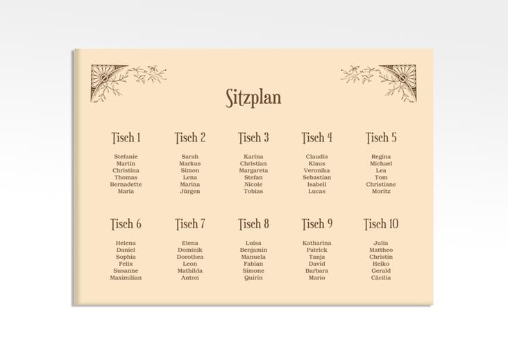 """Sitzplan Leinwand Hochzeit """"Storybook"""" 70 x 50 cm Leinwand beige"""