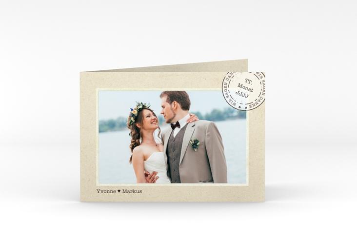 """Danksagungskarte Hochzeit """"Stamp"""" A6 Klappkarte Quer"""