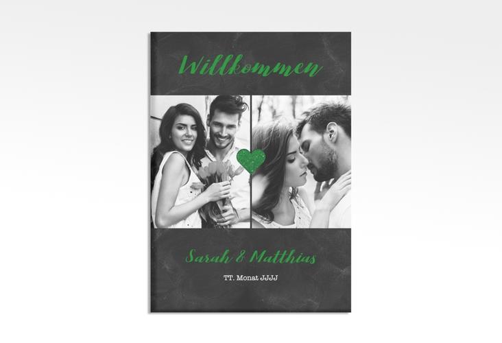 """Willkommensschild Hochzeit """"Sparkly"""" 50 x 70 cm Leinwand gruen"""