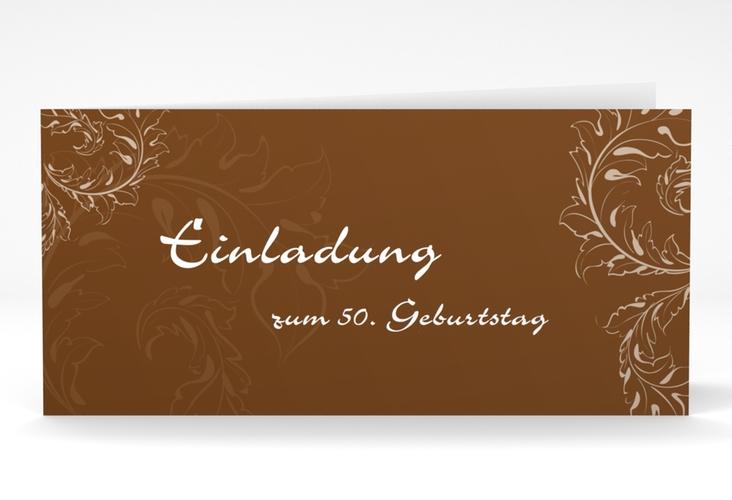 "Einladungskarte ""Peter/Petra"" DIN lang Klappkarte braun"