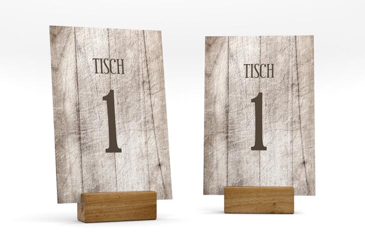 """Tischnummer Hochzeit """"Wood"""" Tischaufsteller weiss"""