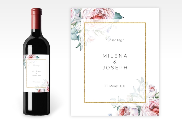 """Weinetikett zur Hochzeit """"Embrace"""" Etikett Weinflasche 4er Set weiss"""