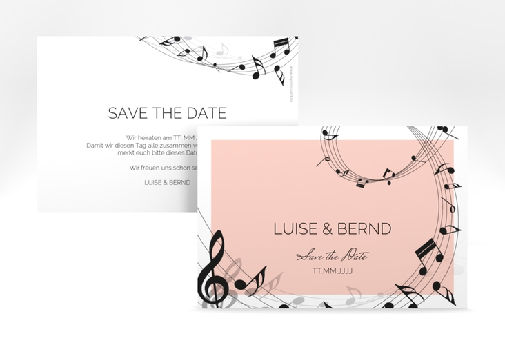 """Save the Date-Karte """"Melody"""" A6 quer rosa"""