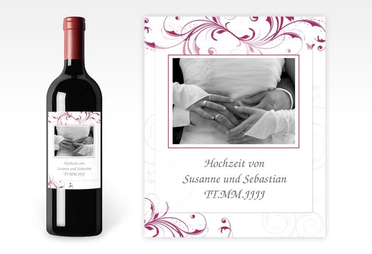 """Weinflaschenetikett Hochzeit """"Palma"""" Etikett Weinflasche 4er Set pink"""