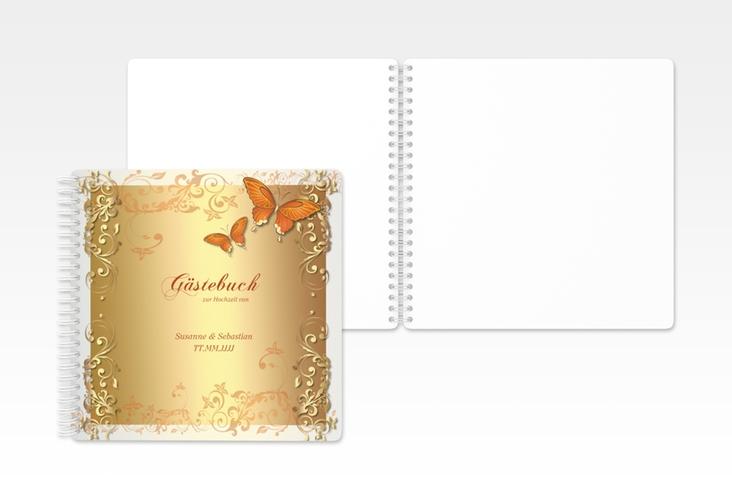 """Gästebuch Hochzeit """"Toulouse"""" Ringbindung orange"""
