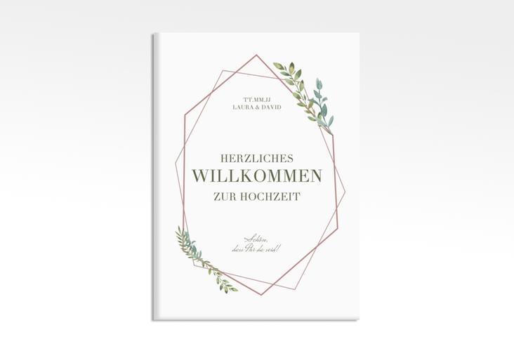 """Willkommensschild Leinwand """"Herbarium"""" 50 x 70 cm Leinwand rosa"""