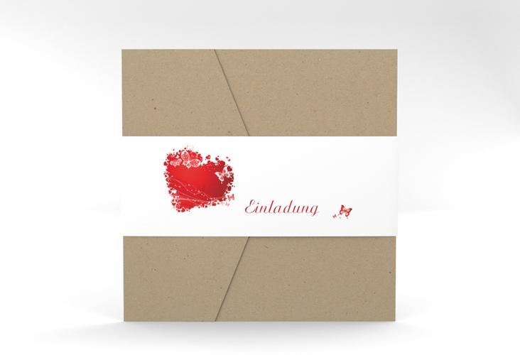 """Hochzeitseinladung """"Mailand"""" Pocketfold rot"""