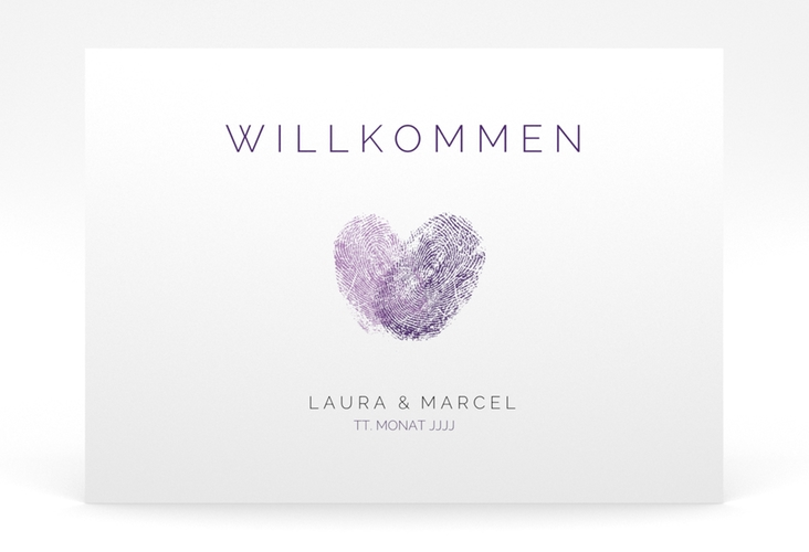 """Willkommensschild Poster """"Fingerprint"""" 70 x 50 cm Poster lila"""