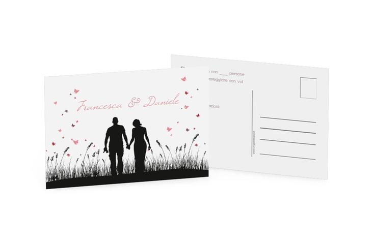 Biglietti risposta matrimonio collezione Rouen A6 Postkarte schwarz