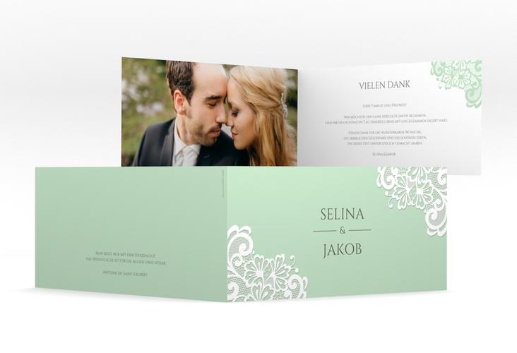 """Dankeskarte Hochzeit """"Vintage"""" DIN lang Klappkarte mint"""