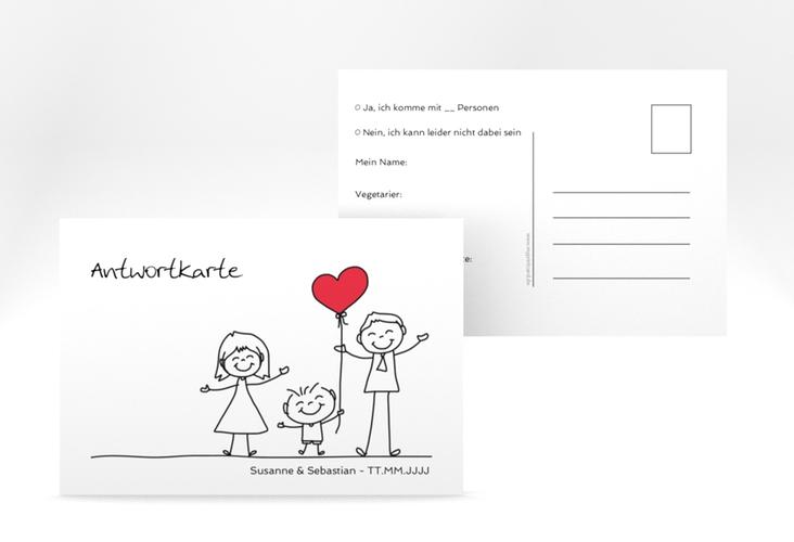 """Antwortkarte Hochzeit """"Family"""" A6 Postkarte weiss"""