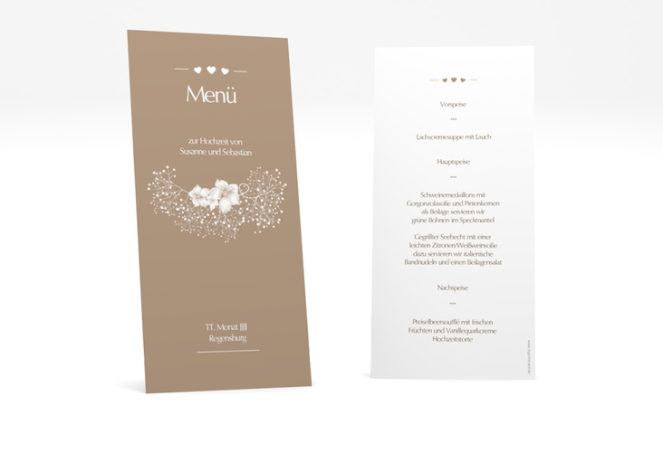 "Menükarte Hochzeit ""Jena"" DIN lang hoch braun"