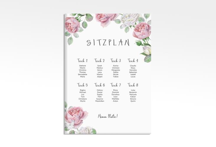 """Sitzplan Leinwand Hochzeit """"Primavera"""" 50 x 70 cm Leinwand weiss"""