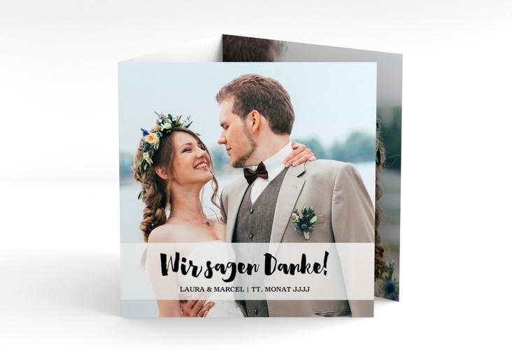 """Dankeskarte Hochzeit """"Mirage"""" Quadr. Karte doppelt weiss"""
