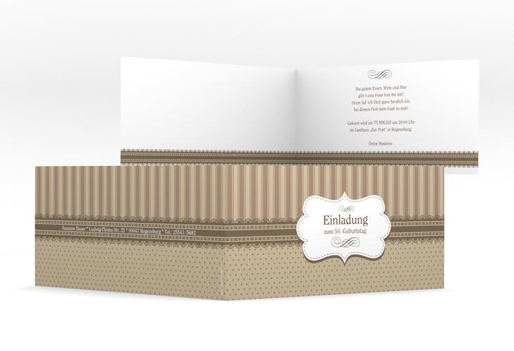 """Einladungskarte """"Heinrich/Henriette"""" DIN lang Klappkarte braun"""