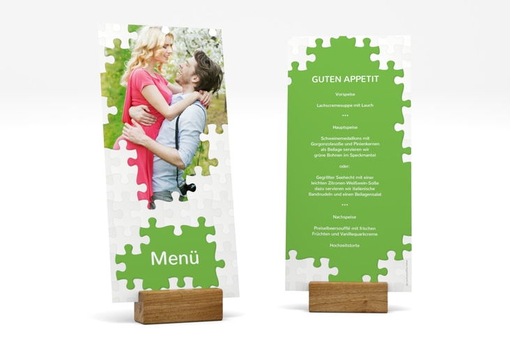 """Menükarte Hochzeit """"Puzzle"""" DIN lang hoch"""