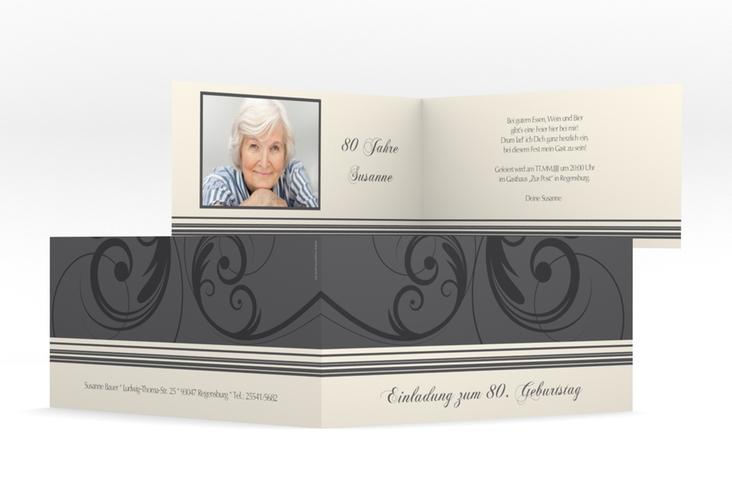 "Einladungskarte ""Katharina"" DIN lang Klappkarte grau"