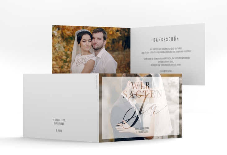 "Danksagungskarte Hochzeit ""Amazing"" A6 Klappkarte Quer weiss"