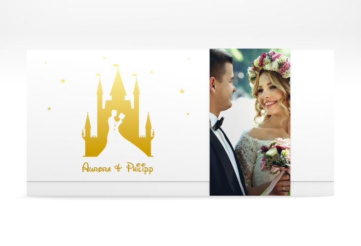 "Hochzeitseinladung ""Castle"" DIN lang Wickelfalz gold"