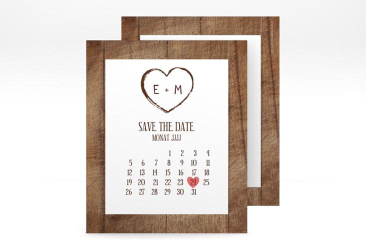 "Save the Date-Kalenderblatt ""Wood"" Kalenderblatt-Karte"