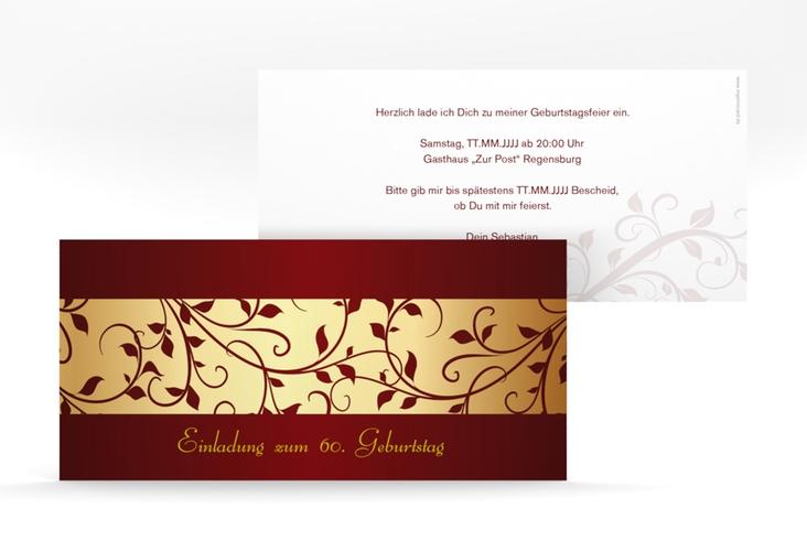 """Einladungskarte """"Hermann/Hermine"""" DIN lang gold"""