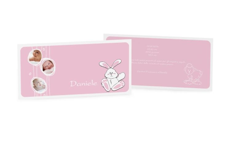 Biglietti nascita coniglietto DIN lang