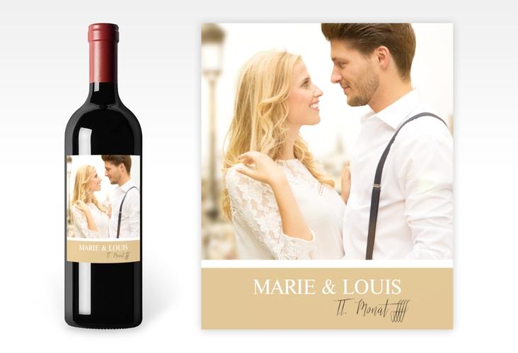 """Weinetikett zur Hochzeit """"Balance"""" Etikett Weinflasche 4er Set beige"""