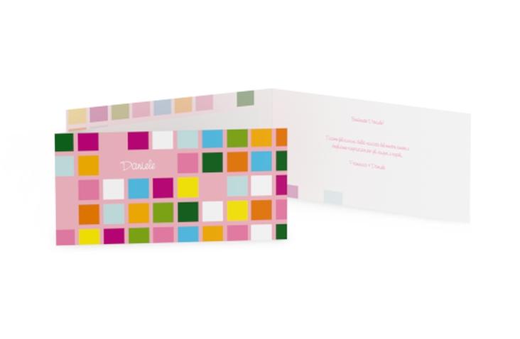Biglietti nascita quadrati colorati DIN lang Klappkarte