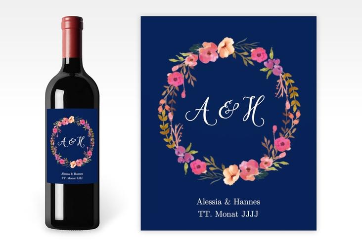 """Weinetikett zur Hochzeit """"Fiore"""" Etikett Weinflasche 4er Set blau"""