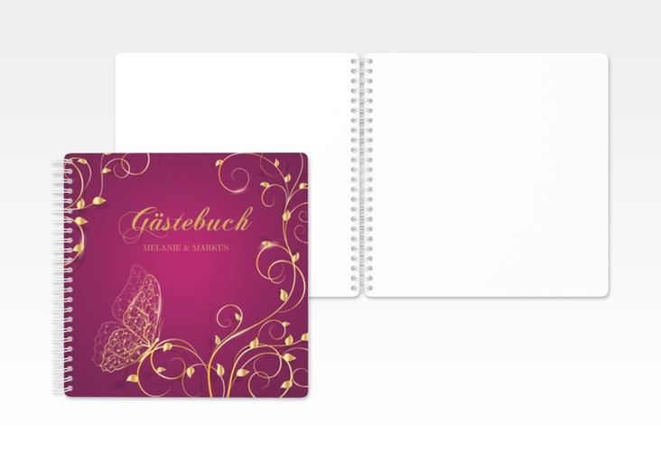 """Gästebuch Hochzeit """"Eternity"""" Ringbindung pink"""