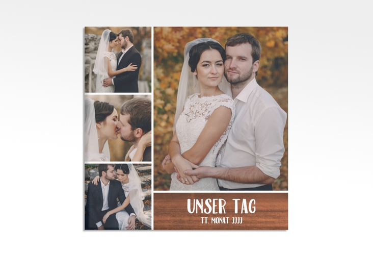 """Hochzeitscollage Leinwand """"Landliebe"""" 30 x 30 cm Leinwand braun"""
