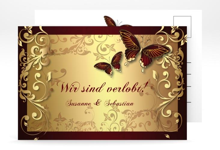 "Verlobungskarte Hochzeit ""Toulouse"" A6 Postkarte rot"