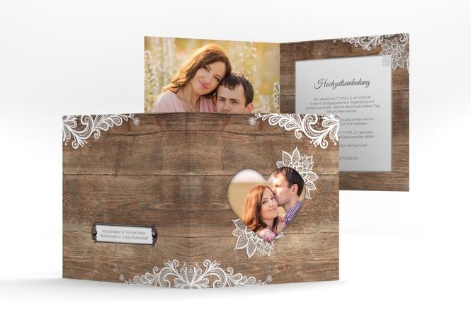 "Hochzeitseinladung ""Spitze"" Quadratische Klappkarte"