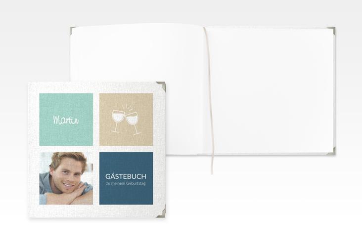 """Gästebuch Selection Geburtstag """"Celebration"""" Leinen-Hardcover tuerkis"""