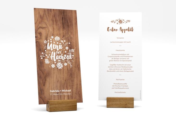 """Menükarte Hochzeit """"Buttercup"""" DIN lang hoch braun"""