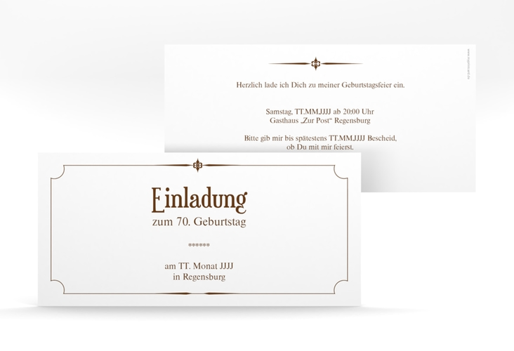 """Einladungskarte """"Helmut/Helmine"""" DIN lang braun"""