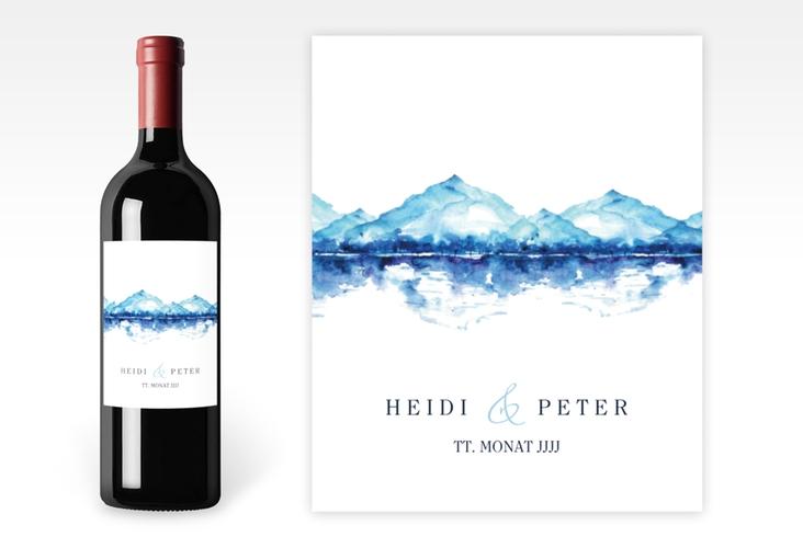 """Weinetikett zur Hochzeit """"Bergliebe"""" Etikett Weinflasche 4er Set blau"""