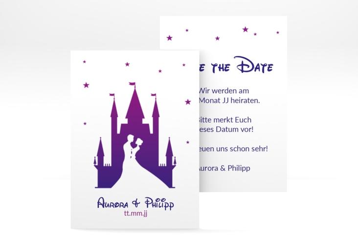 "Save the Date-Visitenkarte ""Castle"" Visitenkarte lila"