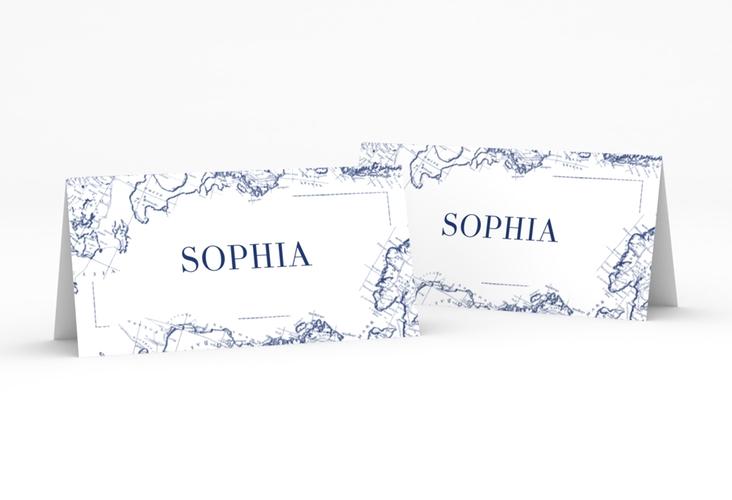 """Tischkarte Hochzeit """"Voyage"""" Tischkarten blau"""