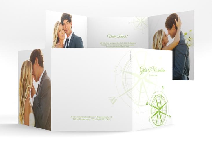 """Dankeskarte Hochzeit """"Windrose"""" Quadr. Karte doppelt gruen"""