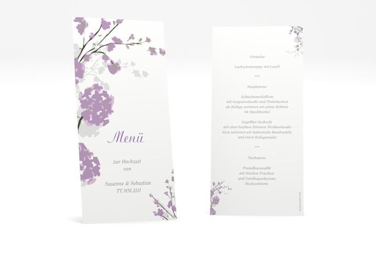 """Menükarte Hochzeit """"Salerno"""" DIN lang hoch flieder"""