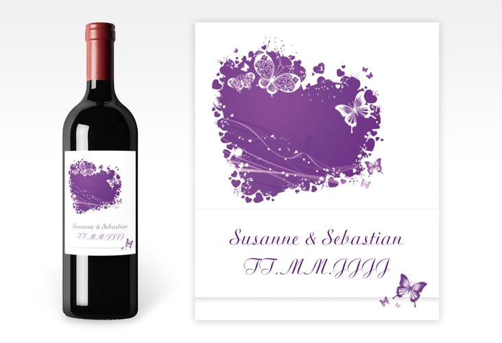 """Weinflaschenetikett Hochzeit """"Mailand"""" Etikett Weinflasche 4er Set lila"""