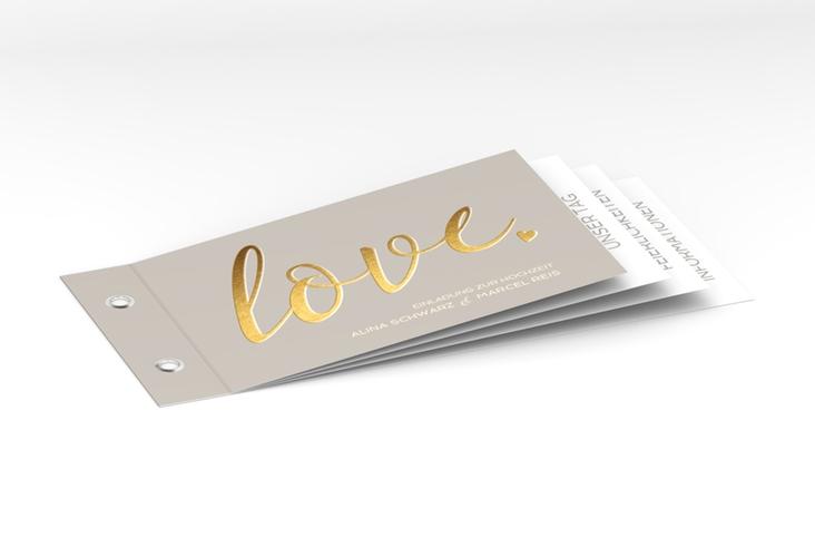 """Hochzeitseinladung """"Glam"""" Booklet grau"""