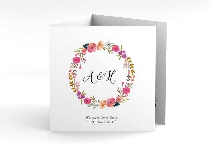 "Dankeskarte Hochzeit ""Fiore"" Quadr. Karte doppelt weiss"