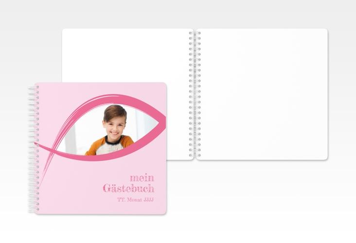 "Gästebuch Kommunion ""Credo"" Ringbindung rosa"