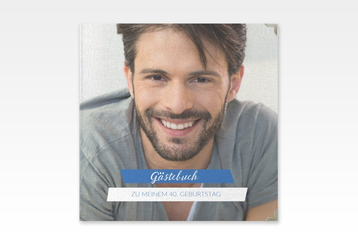 "Gästebuch Selection Geburtstag ""Happy"" Leinen-Hardcover blau"