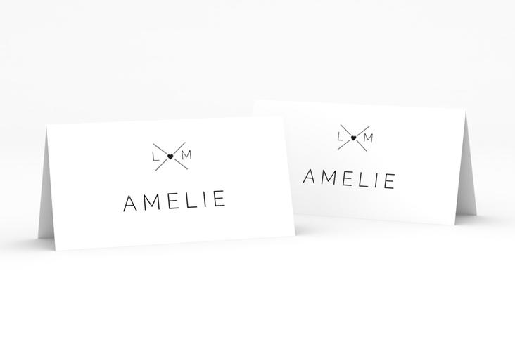 """Tischkarte Hochzeit """"Initials"""" Tischkarten schwarz"""