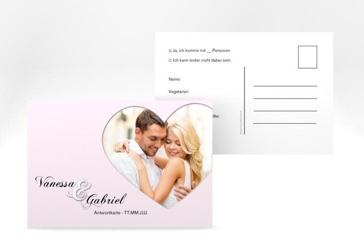 "Antwortkarte Hochzeit ""Sweetheart"" A6 Postkarte rosa"